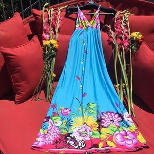 Maxi Dress Turquoise Floral NWT Size Small